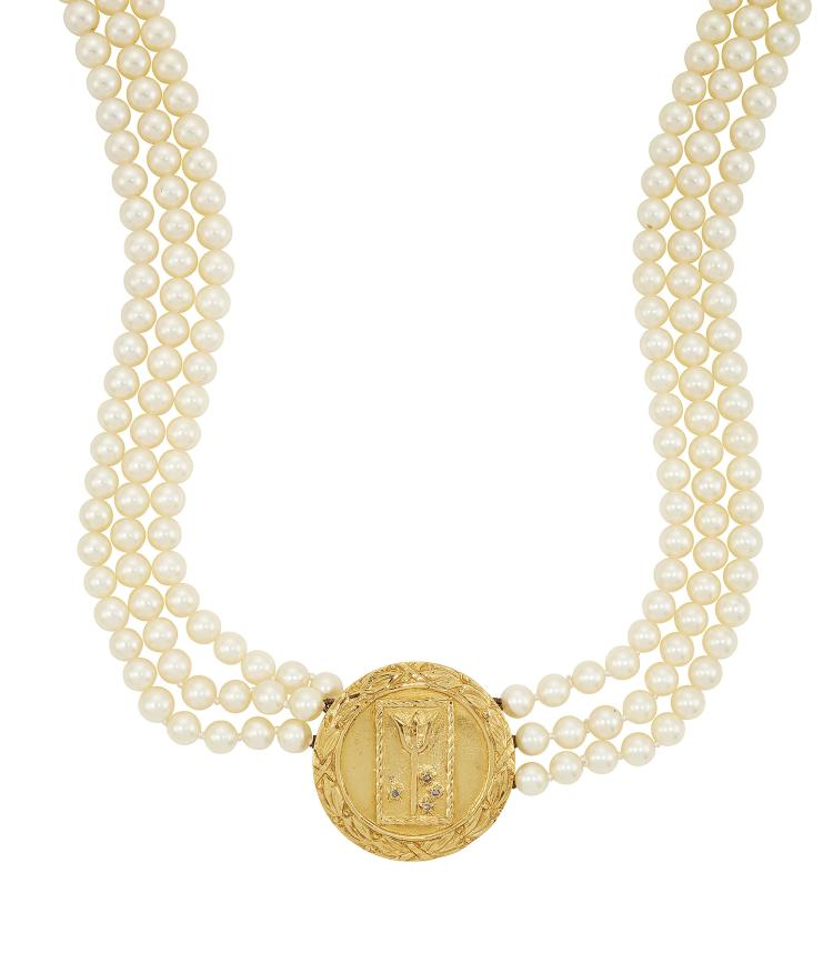 A cultured pearl triple-row cultured pearl necklace, composed of three rows of uniform cultured pearls approximate general diameter 5.4mm, to an early 20th century gold medallic panel set with four rose-cut diamond star motifs and central tridant within rectangular rope border, approximately 60cm long