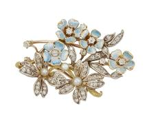 An Edwardian gold, diamond and enamel brooch, designed as a floral spray, with two old brilliant-cut diamond and seed pearl cluster flowerheads and four pale blue enamel flowerheads each with diamond single stone centres , circa 1905, later brooch pin and stem detail, 4.5cm