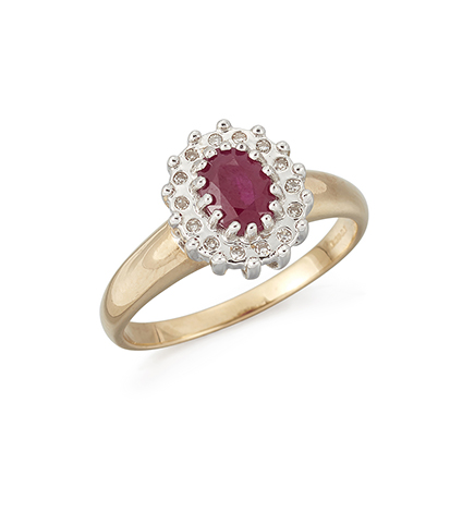 A 14ct. gold, ruby and diamond cluster ring, the claw-set oval-cut ruby with single-cut diamond border, London hallmarks, 2006, ring size P