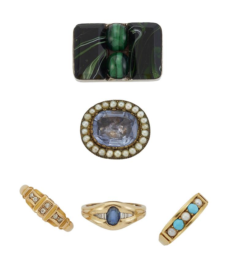 A group of jewellery and rings, including: a Victorian 18ct. gold old-brilliant-cut diamond six stone half-hoop ring, approximate gross weight 3.4g; a sapphire gypsy ring with baguette diamond shoulders; an oval-cut citrine single stone ring; a 22ct. gold band ring, approximate weight 1.5g, a Victorian 18ct. gold, turquoise ring; a paste hinged triple eternity ring, some paste stones deficient; a 9ct. gold, amethyst single stone ring; an early 19th century gold mourning band ring with central plaited hair band; an amber ring; an Art Nouveau gilt pendant signed FIX, a moss agate pendant; and seven various brooches (a lot)