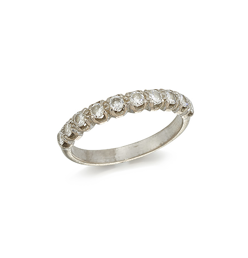 A diamond half eternity ring and a silver 'miser's' purse, the ring claw-set with ten circular-cut diamonds, ring size O; the purse of mesh work design with bead terminals (2)