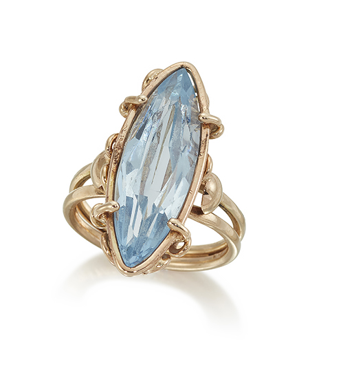 A synthetic blue spinel ring, the naivett-cut blue spinel in coiled mount, ring size L/M