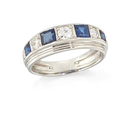 A sapphire and diamond half-eternity ring, alternately set with five circular-cut diamonds and four graduated, square-cut sapphires, French import marks, ring size M