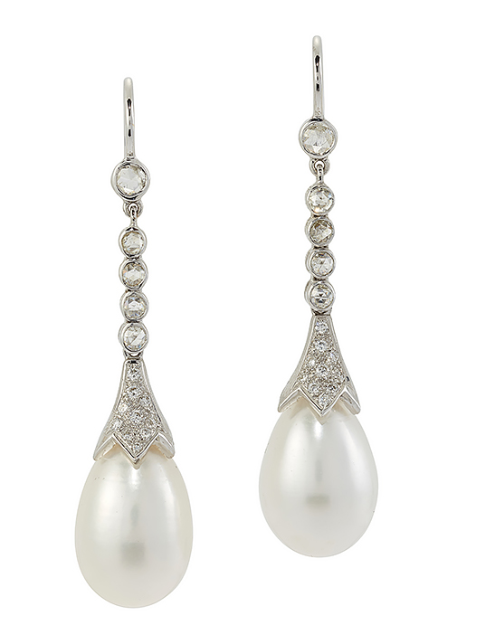A pair of cultured pearl diamond ear pendants, each designed as a single drop shaped cultured pearl approximate diameter 11.0mm, in pave diamond cusp mount suspended from an articulated line of four diamond collets and single diamond top, 4.5cm long