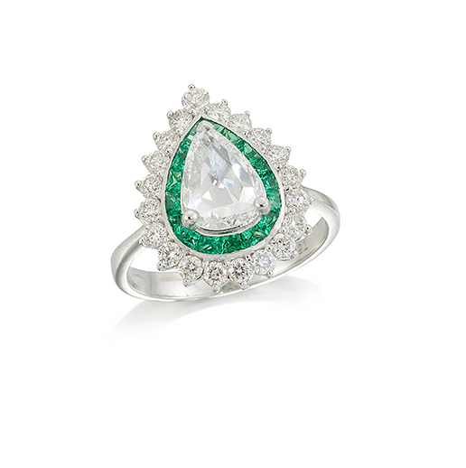 A rose-cut diamond and emerald cluster ring, the heart shaped cluster with central claw-set heart shaped rose-cut diamond weighing approximately 1.10 carats, with circular-cut diamond and calibre emerald border, to a plain hoop, ring size M1/2