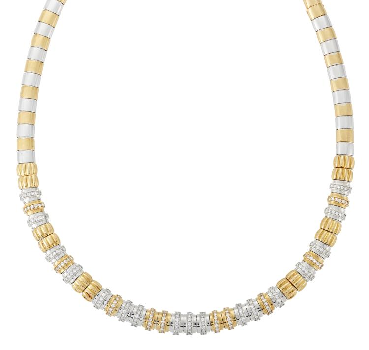 A French, diamond flexible necklace, designed as a series of domed rectangular articulated two colour panels, the centre section fluted panels each set with a line of seven circular-cut diamonds, French mark to clasp tongue, 40.5cm long