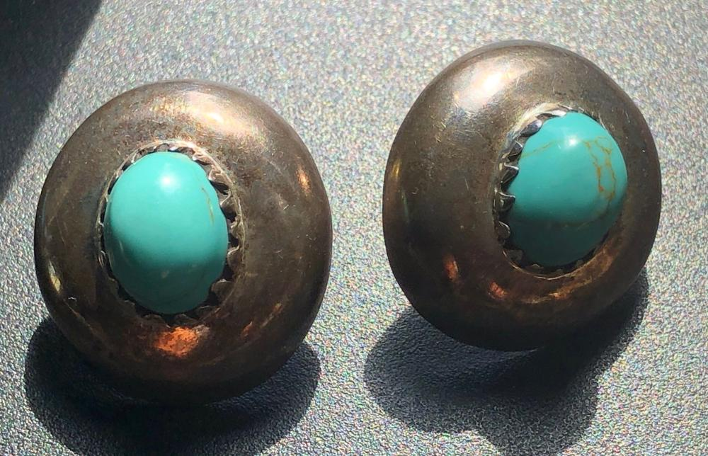 Pair of Silver Turquoise Earrings
