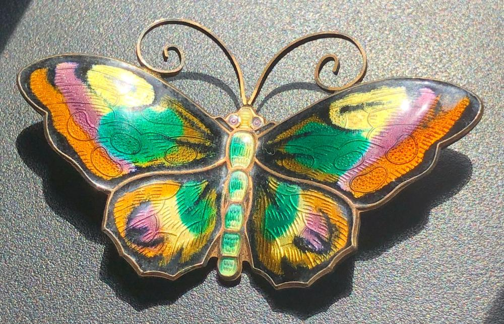 DAVID ANDERSEN Sterling & Enamel Butterfly Brooch Pin