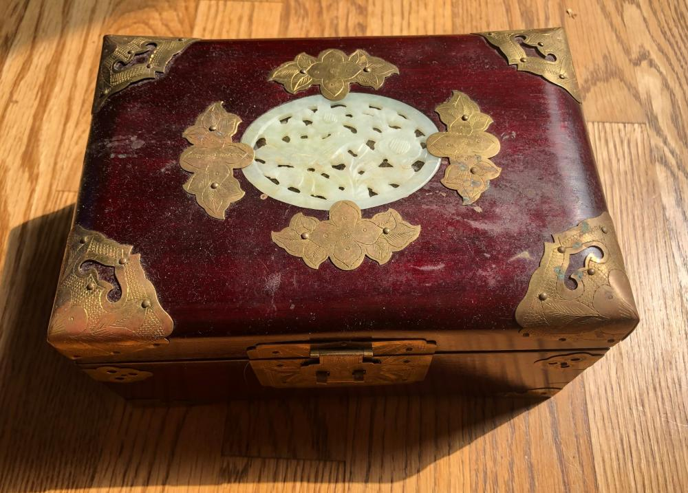 Vintage Rosewood Jewelry Box with Jade Inlay