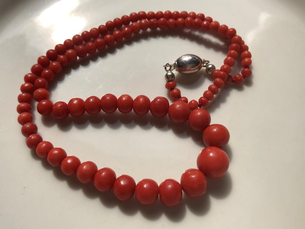 Antique Natural Red Coral Necklace with 14K Gold Clasp