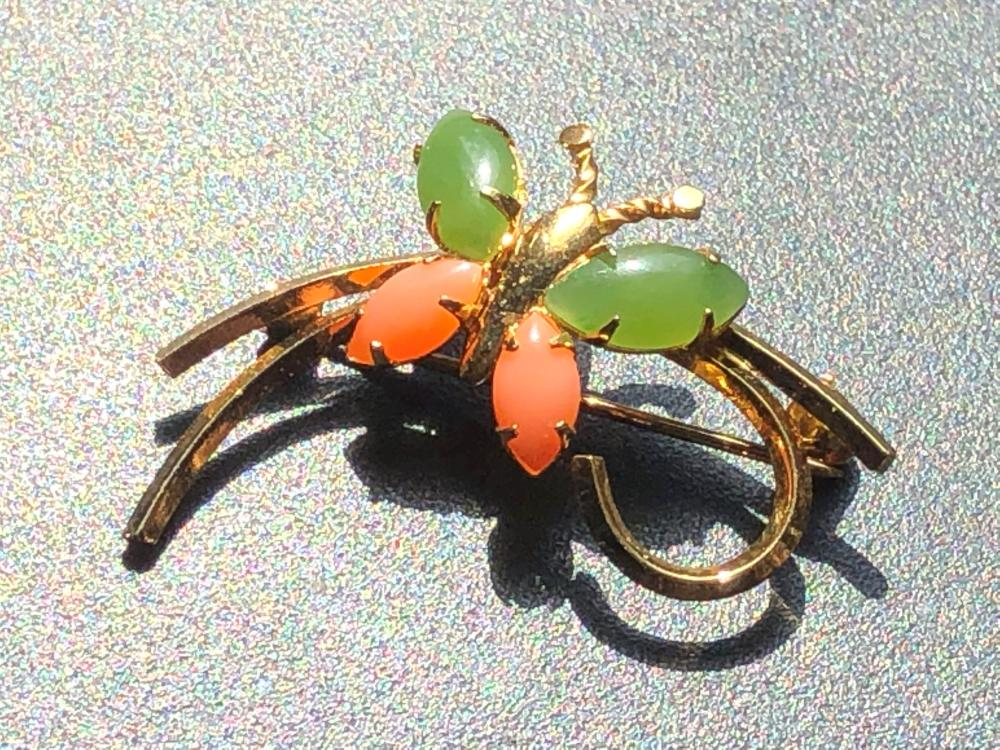 Vintage Coral and Jade Brooch Pin, Marked 14K GF