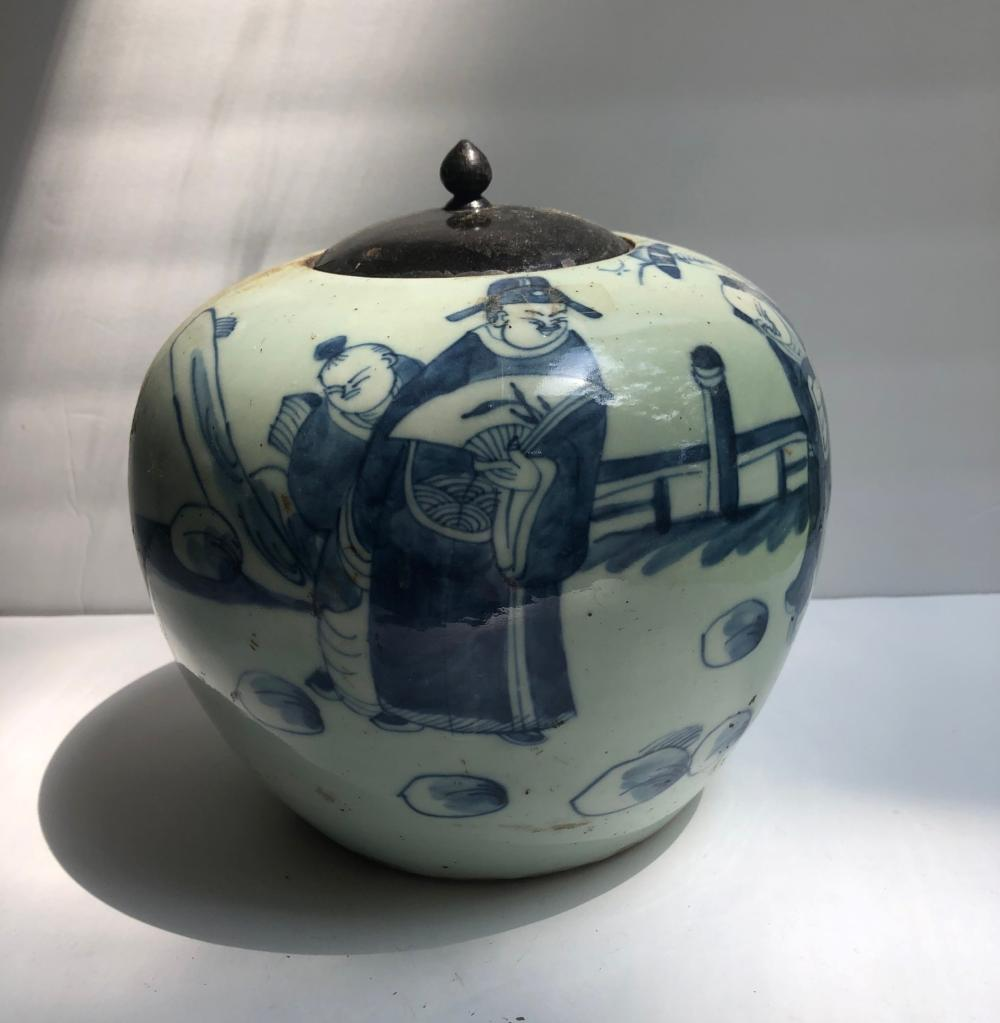 Antique Chinese Celadon Blue and White Pot with Cover