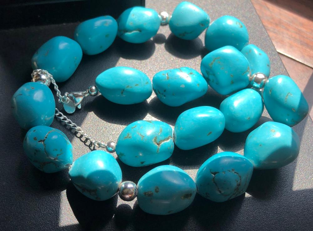 Vintage Turquoise Beads Necklace with Silver Clasp