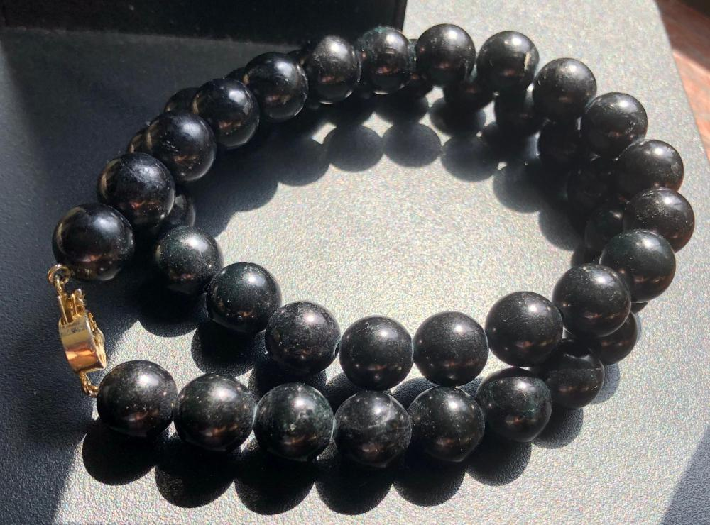 Vintage Black Onyx Beads Necklace