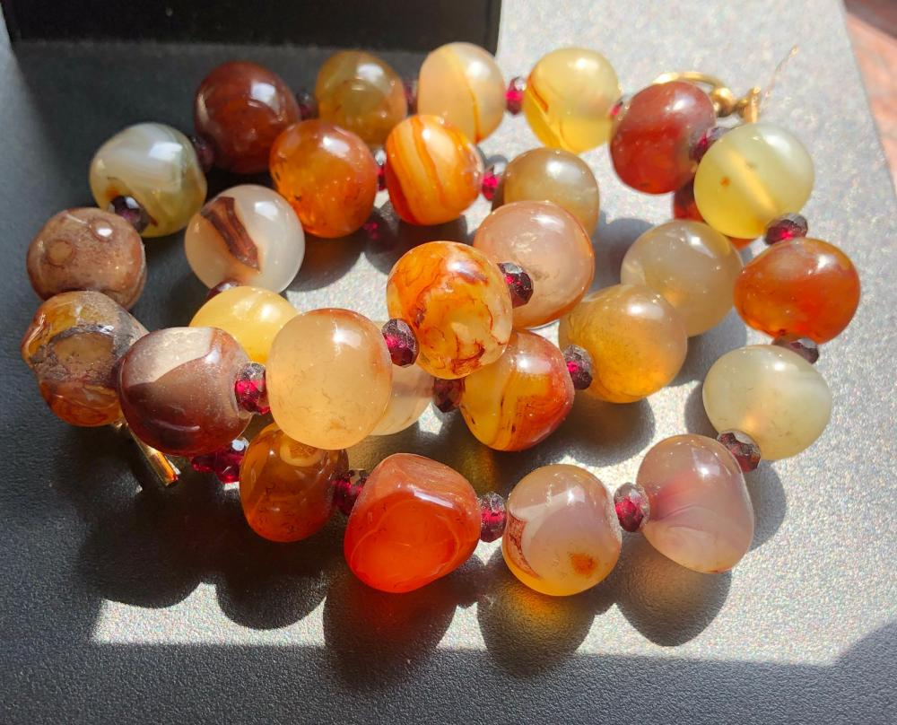 Vintage Carnelian Beads Necklace