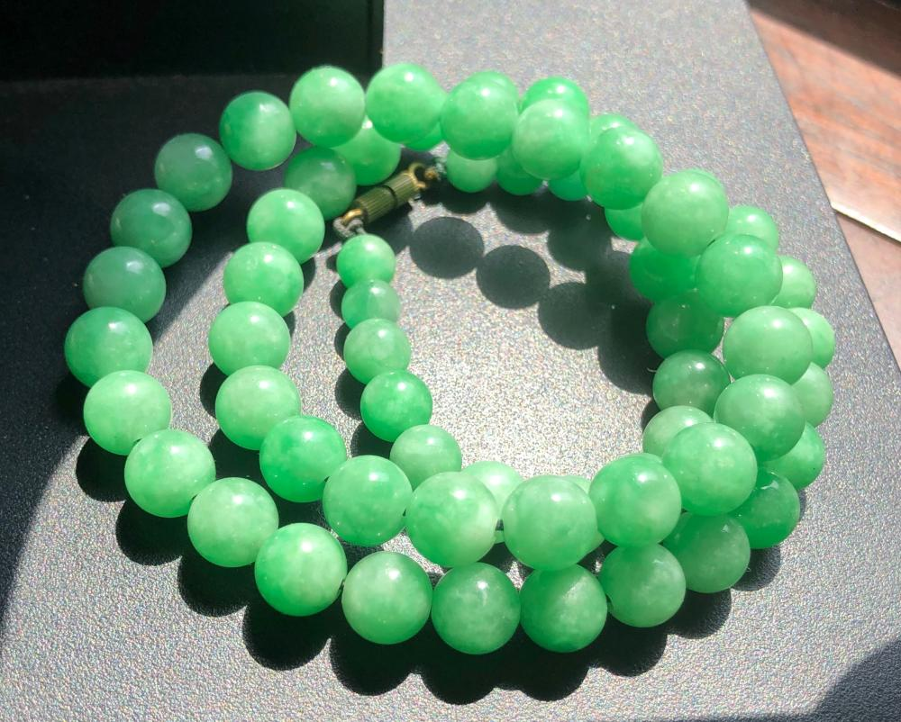 Vintage Green Jadeite Necklace