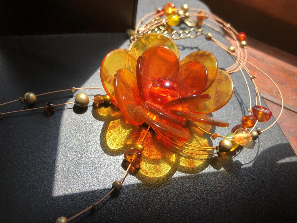 Vintage Amber Flower Necklace
