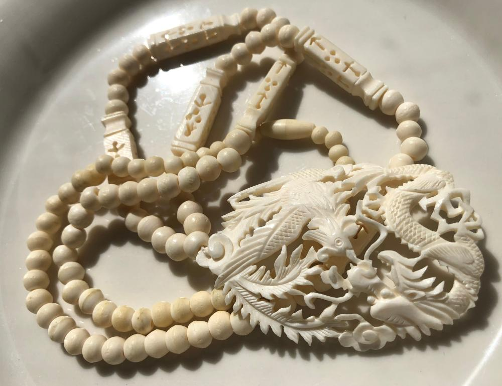 Vintage Carved Neckalce with Dragon and Pheonix Pendant