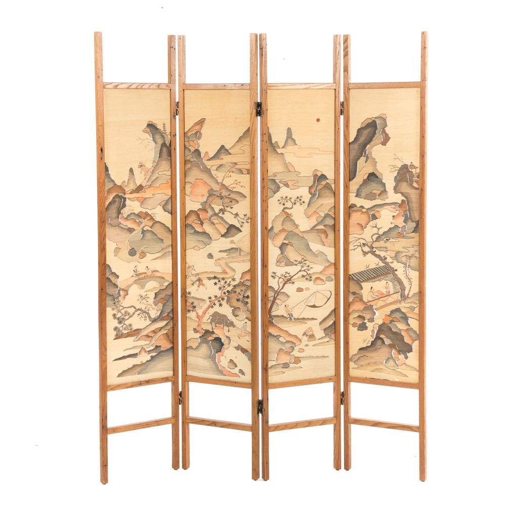Antique Chinese Kesi Embroidered Four-Panel Screen