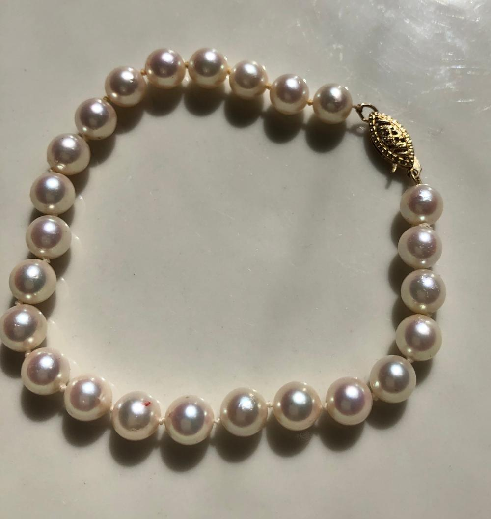 Natural Pearl Bracelet with 14K Gold Clasp Marked 14K