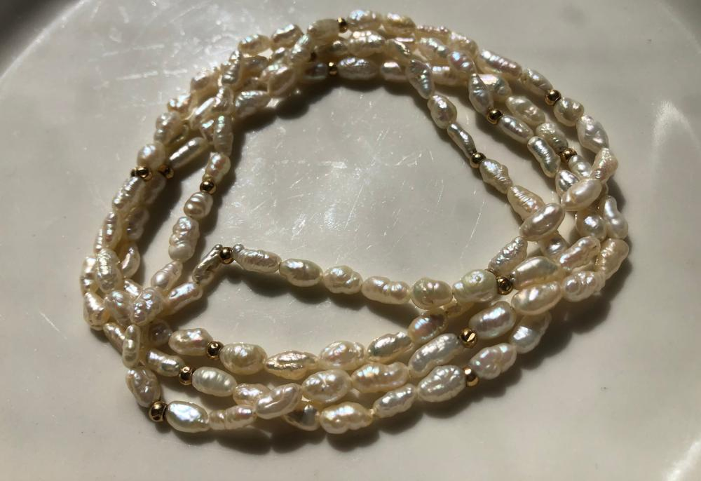 Vintage Pearl Necklace with 14K Gold Beads