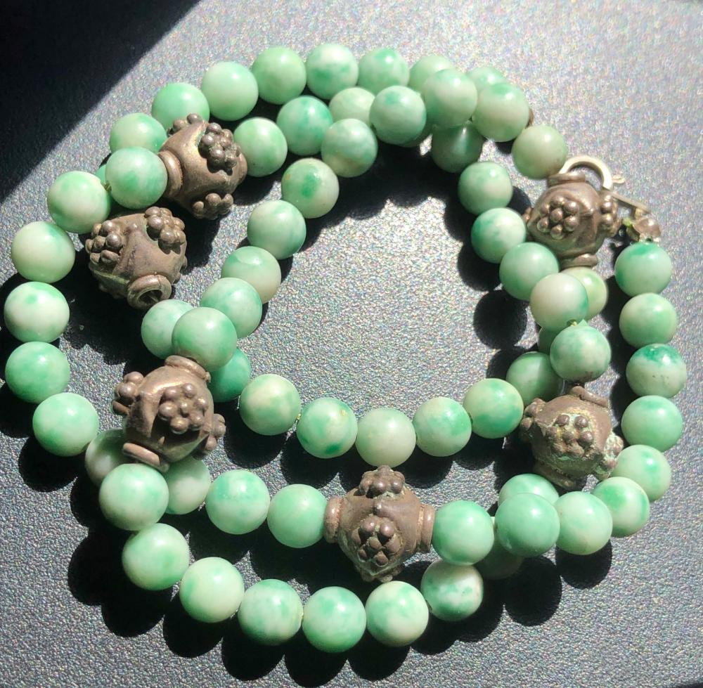 Vintage Green Jadeite Beads Necklace