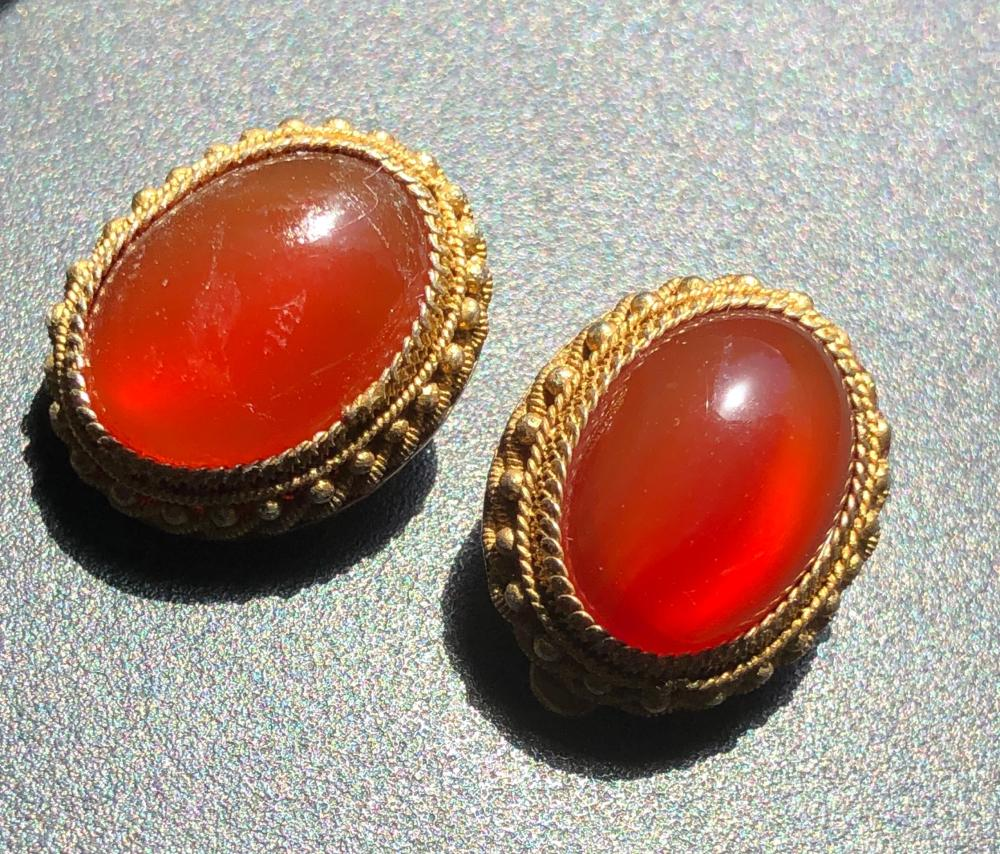 Pair of Antique Silver Filigree Carnelian Earrings