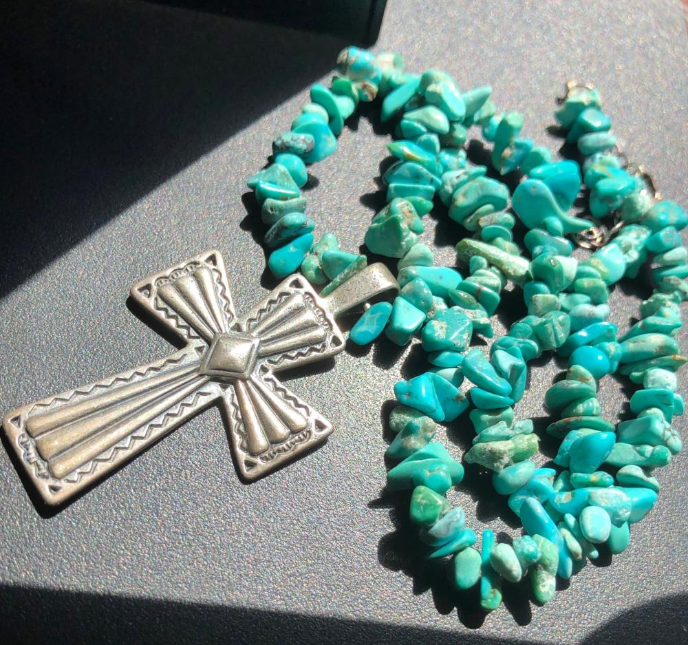 Vintage Turquoise Necklace with Silver Cross Pendant