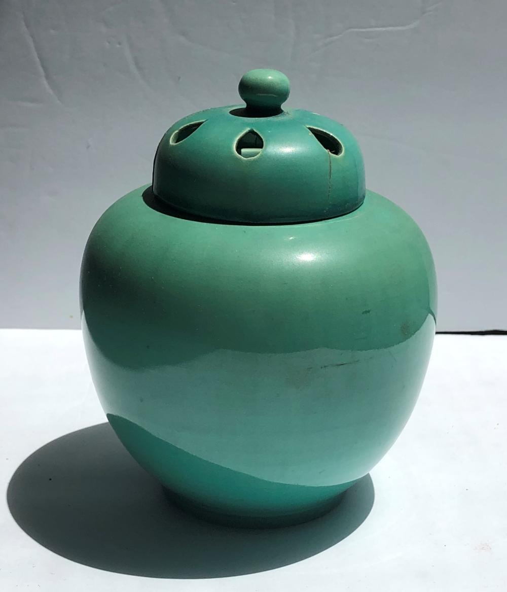 Antique Chinese Light Green Glazed Tea Caddy