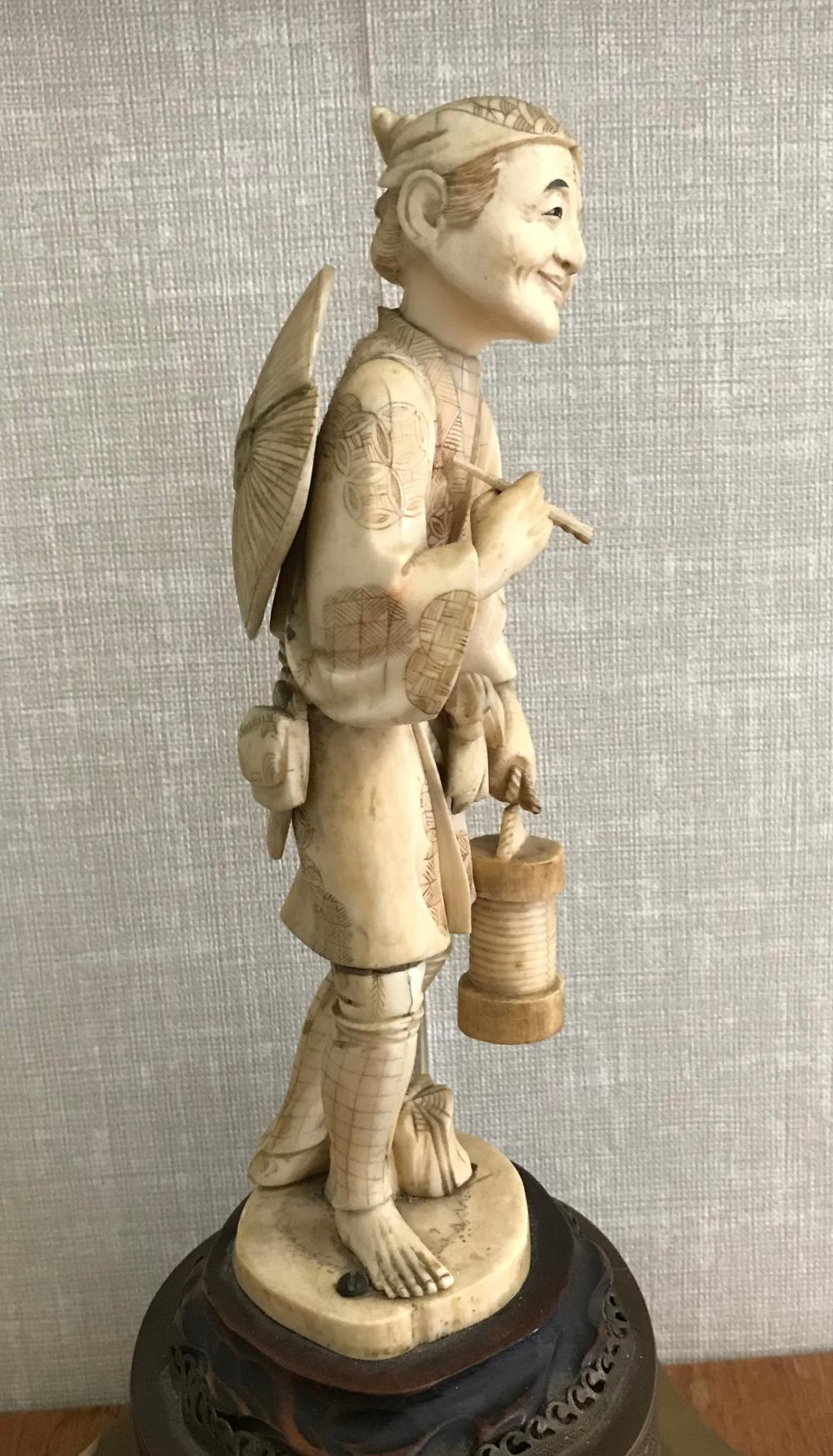 Antique Japanese Carded Fisher Woman Statue