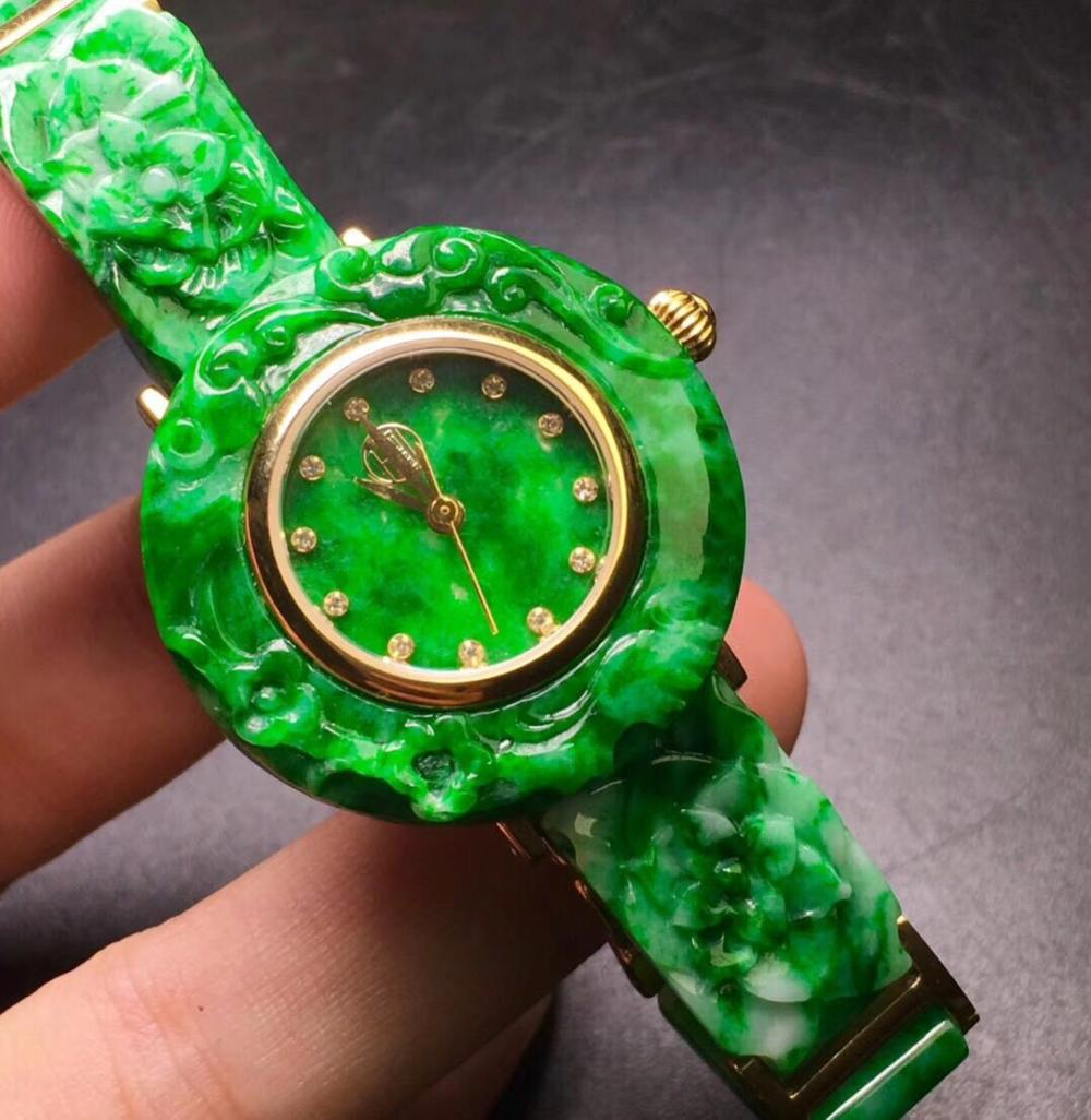 Natural Green Jadeite Lady's Watch