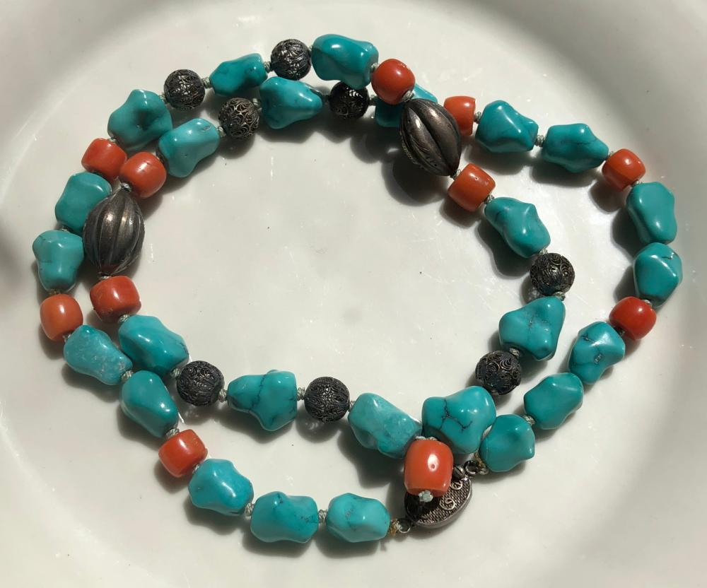 Antique Chinese Coral and Turquoise Beads Necklace