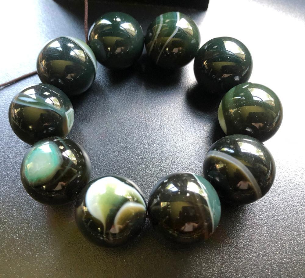 Vintage Green Strip Agate Beads Bracelet