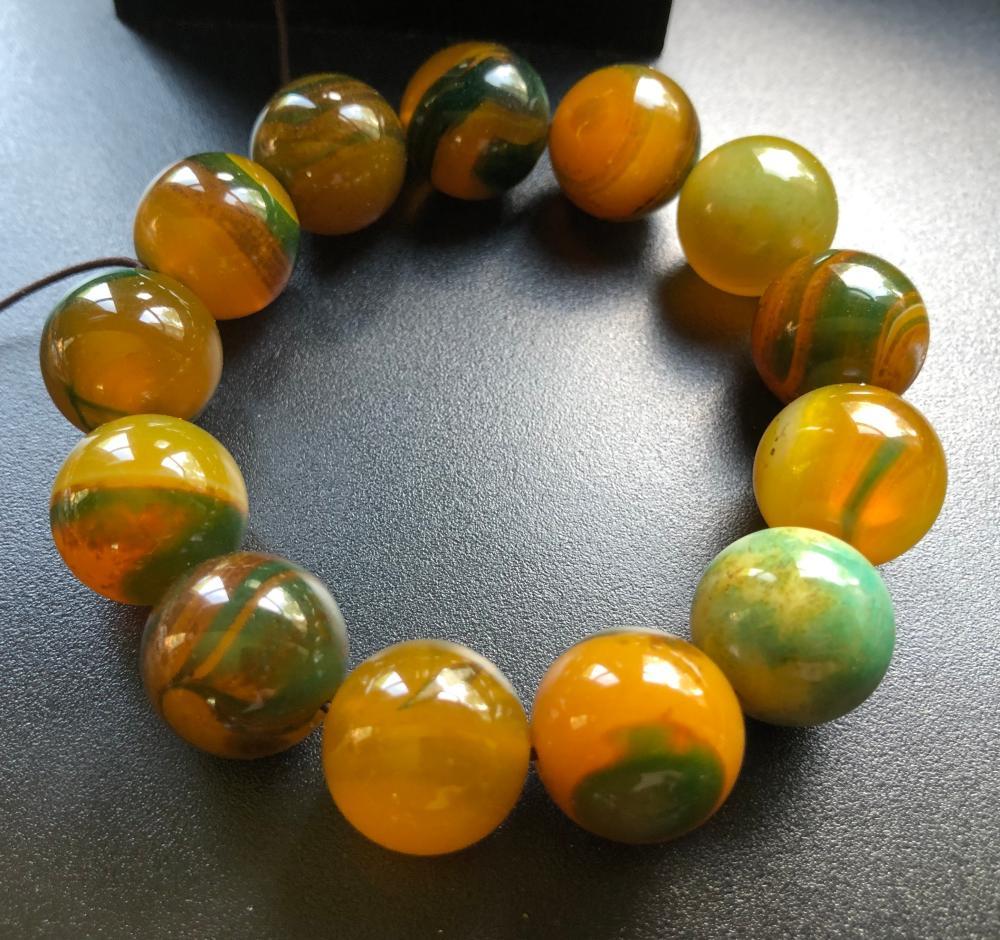 Vintage Yellow Carnelian Beads Bracelet