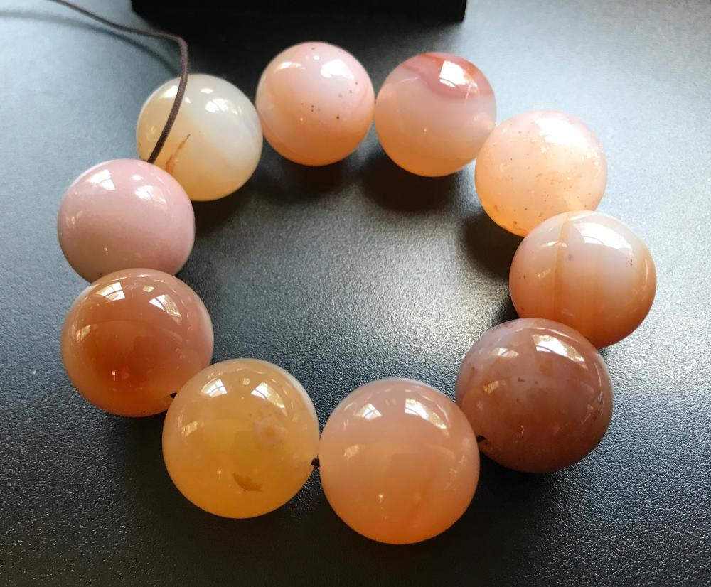 Antique Pink Carnelian Bead Bracelet