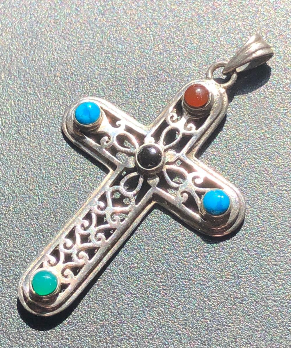"Vintage Silver Cross Pendant, Size: 2"""