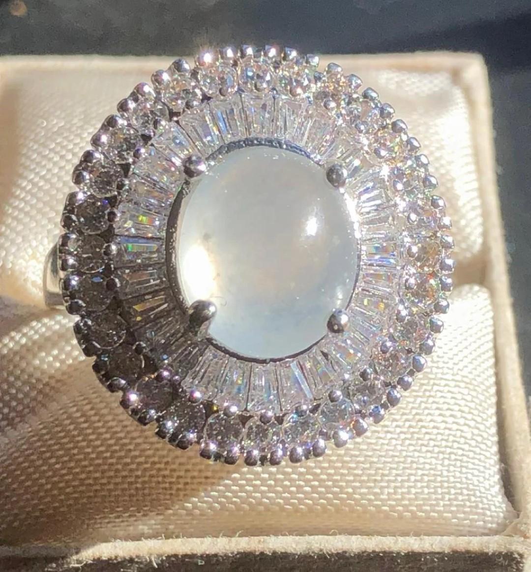Natural White Jadeite Ring