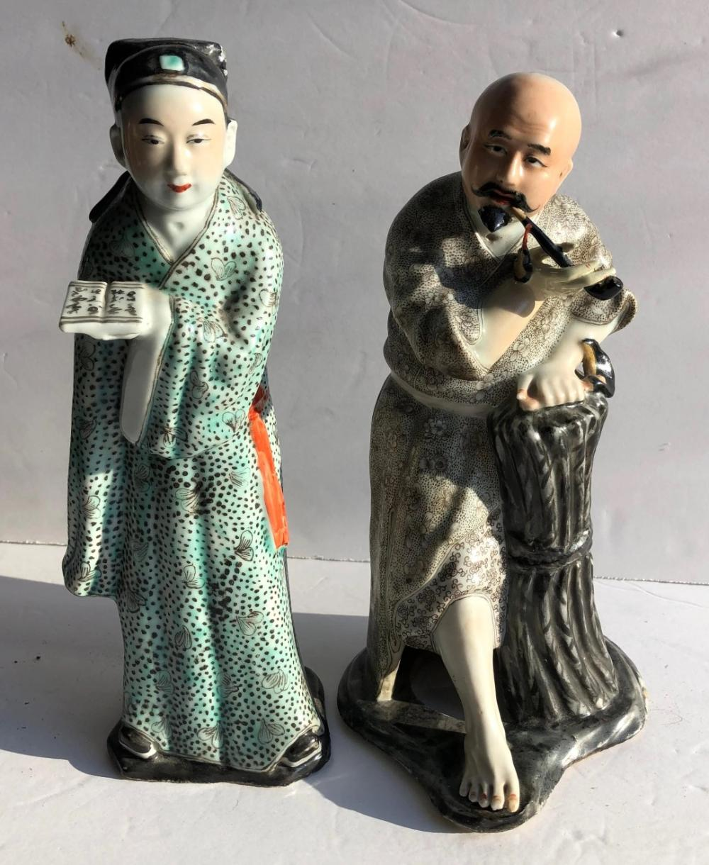 "Two Antique Chinese Famille Rose Statues, Size: 11"" x 3"""
