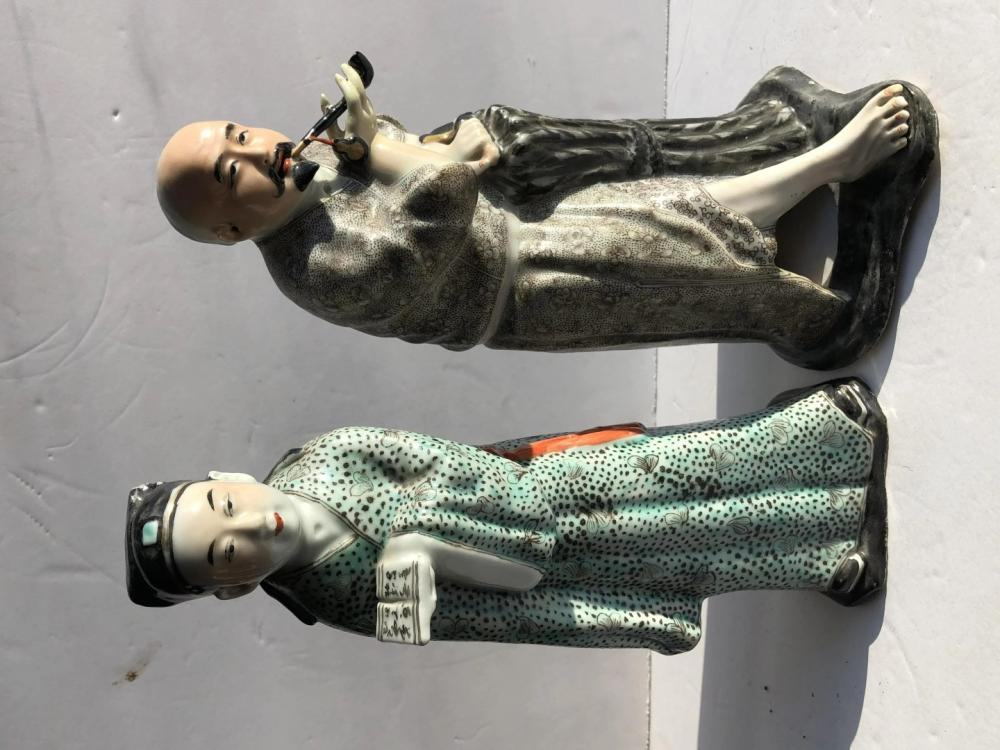 Two Antique Chinese Famille Rose Statues, Size: 11