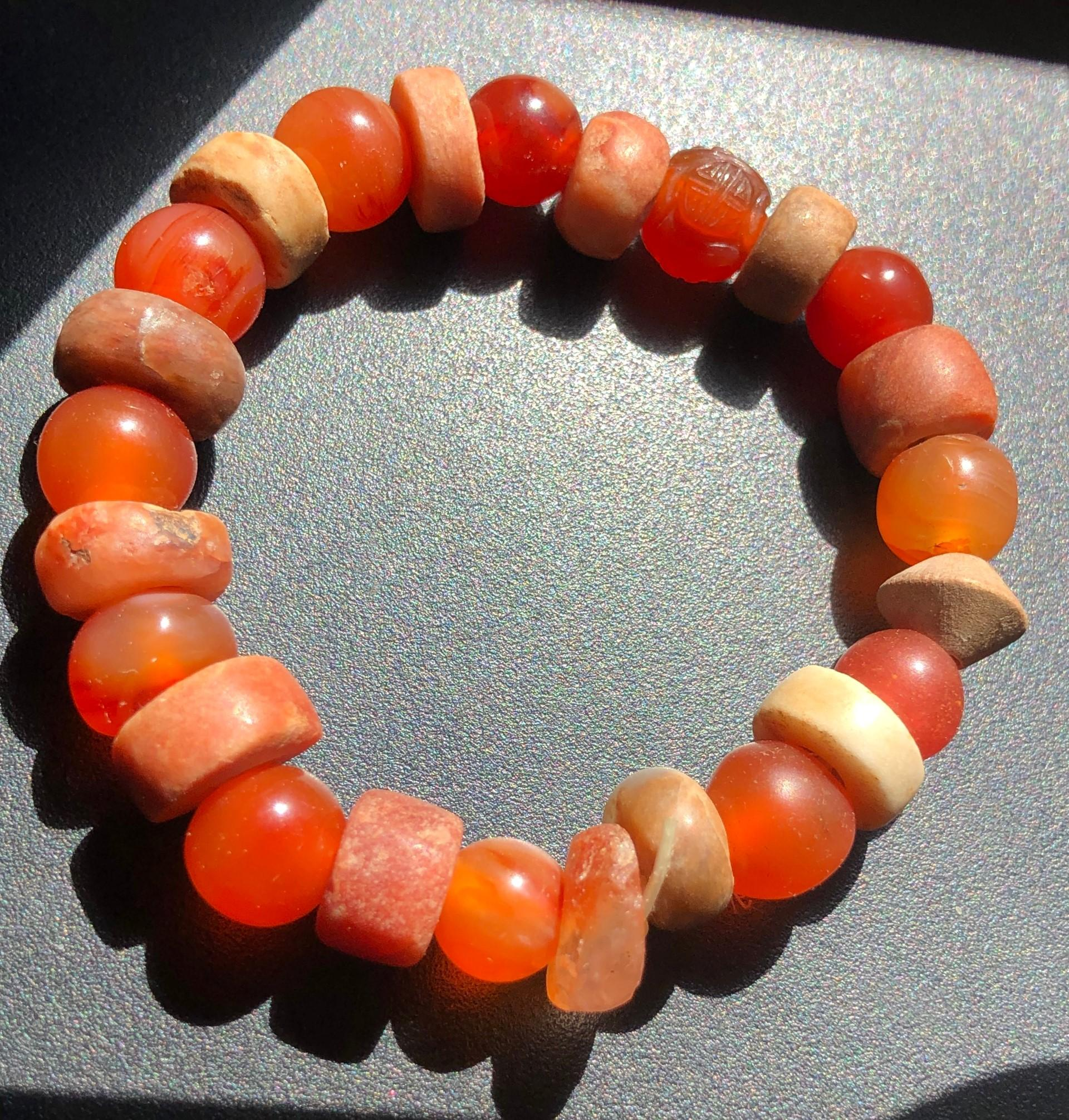 Antique Tang Dynasty Carnelian Beads Bracelet
