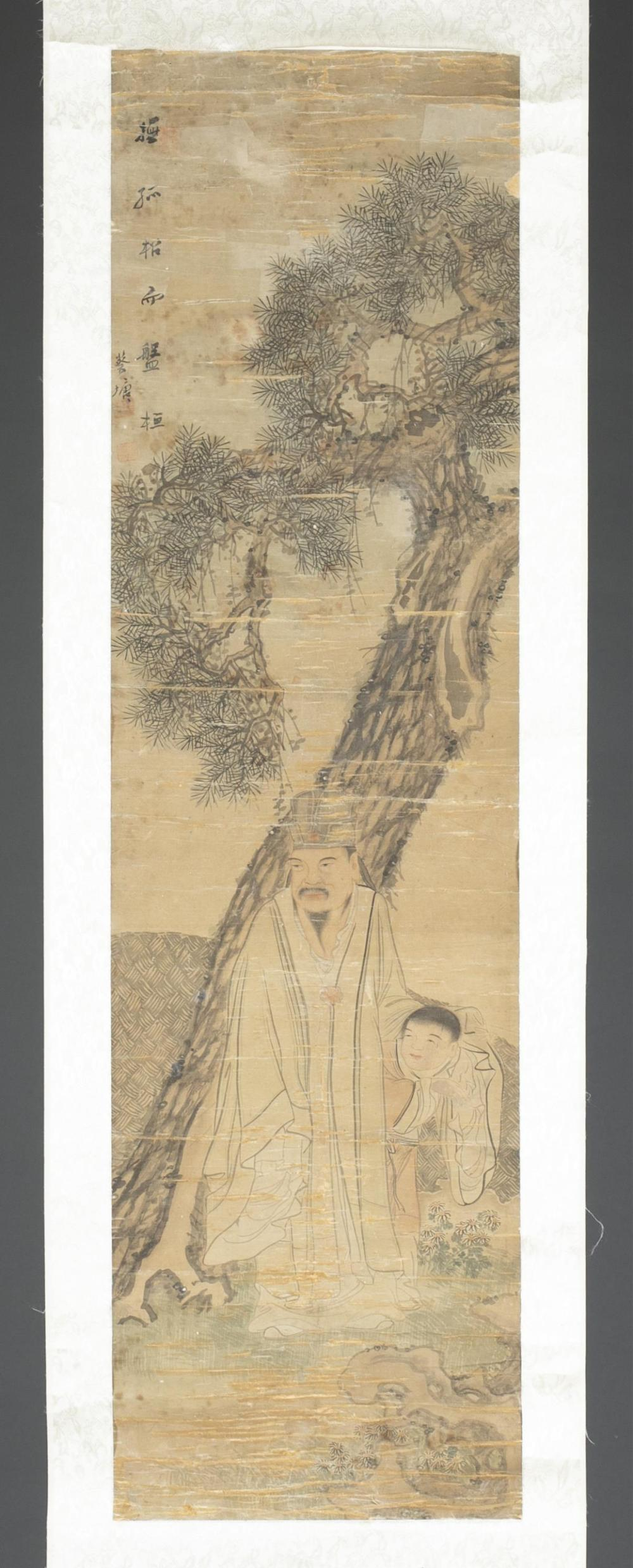 Antique Chinese scroll painting of a father and son by Cai Tang