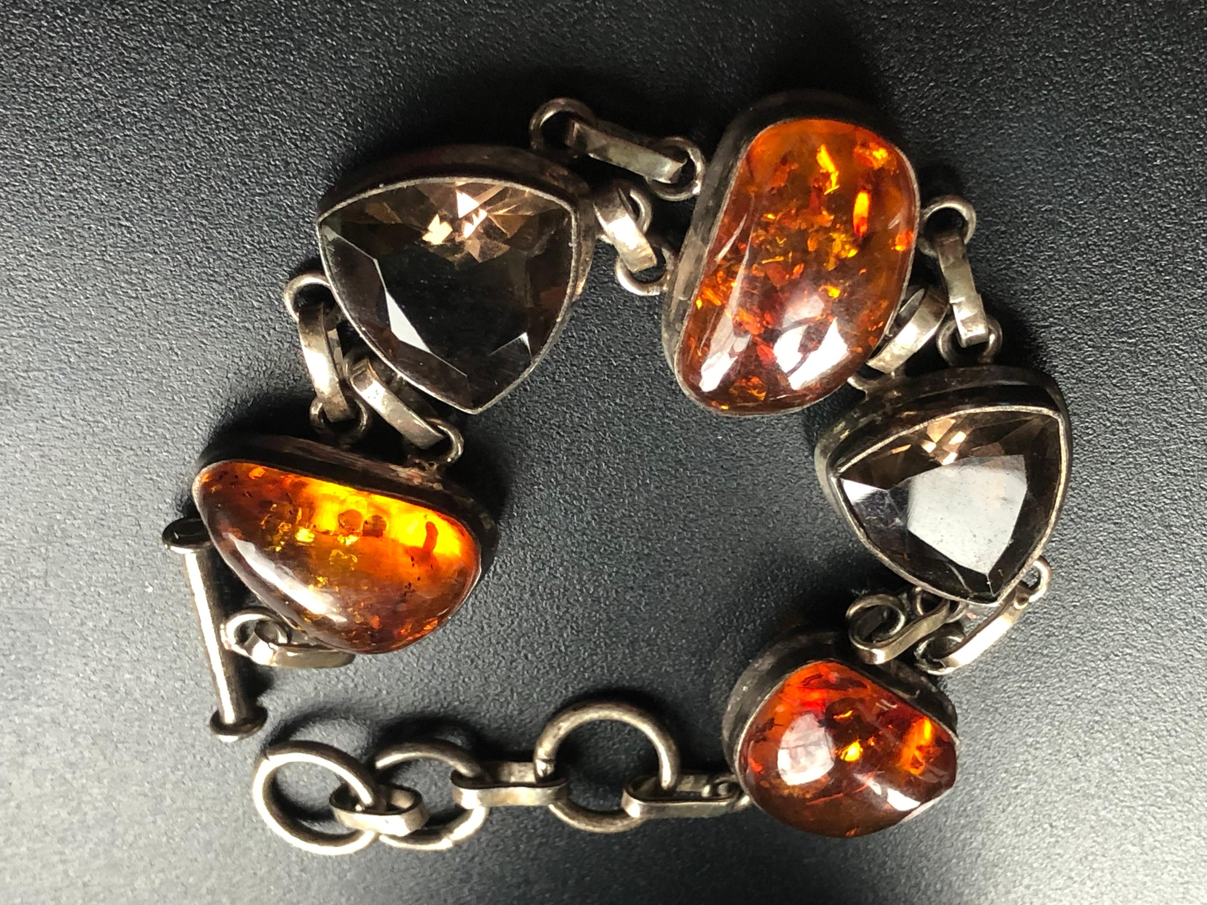 Antique Silver Amber Bracelet