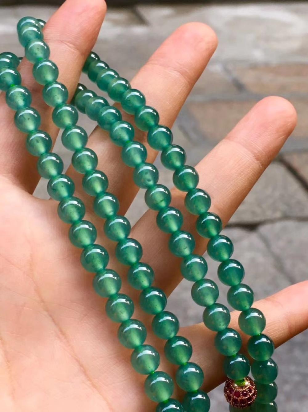 Natural Jadeite 108 Buddha Prayer Beads