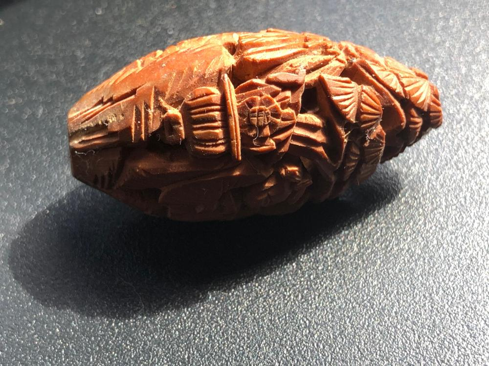 Antique Chinese Carved Pitnut Bead