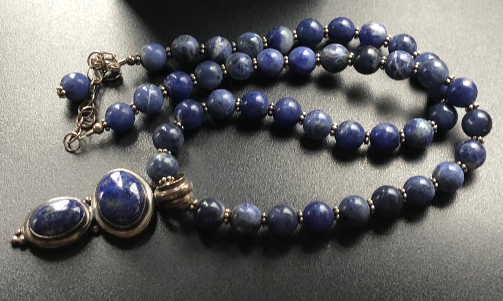 Antique Lapis necklace with Silver Pendant