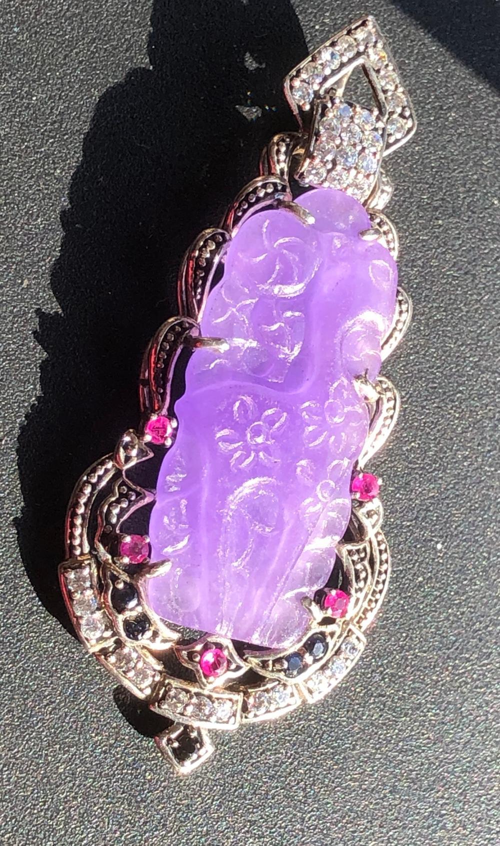 Vintage Ruby Purple Deer Silver Pendant