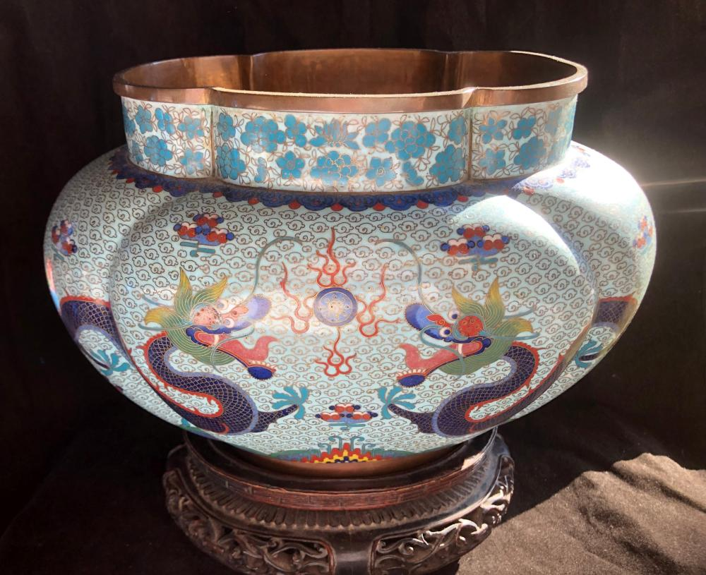 Antique Chinese Cloisonne Dragon Pot with wood Stand