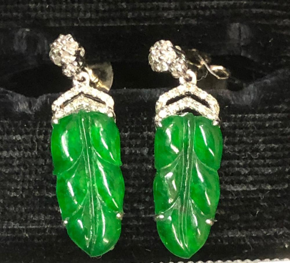 Pair of 18K Gold Diamond Natural Jadeite Leaf Earrings