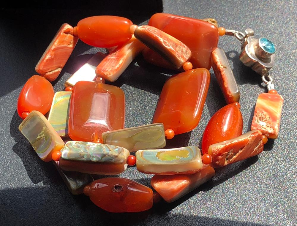 Vintage Carnelian and Mother of Pearl Necklace