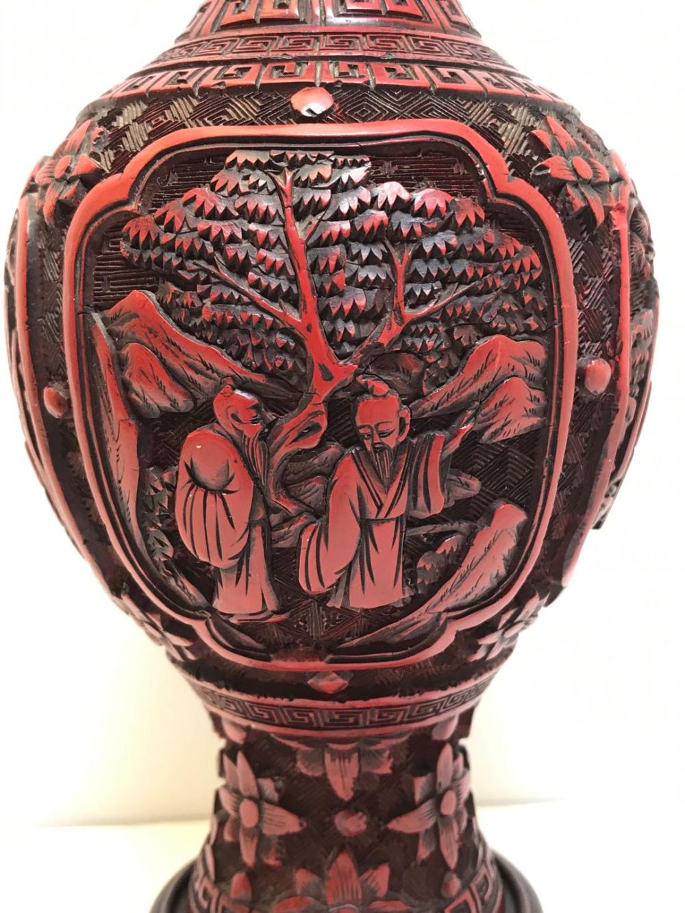 Antique Chinese Red Lacquer Vase